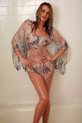 model Jade Williams in shower