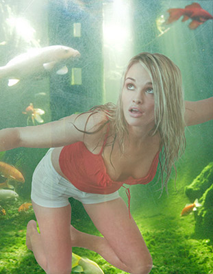 underwater shot of model in coy pond