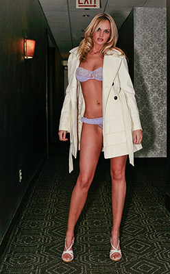 model Jade Williams in lingerie  in hotel hallway