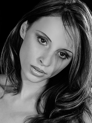 Sultry black and white headshot